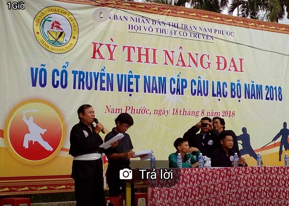 Võ sư Huỳnh Tiến  Lập - Chi hội trưởng Chi hội Võ thuật cổ truyền Thị xã Điện Bàn, Chủ nhiệm CLB TTVHTT huyện Duy Xuyên điều hành kỳ thi